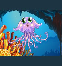 cute jellyfish under the ocean vector image vector image