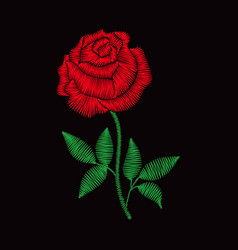 embroidery rose for fashion clothes vector image