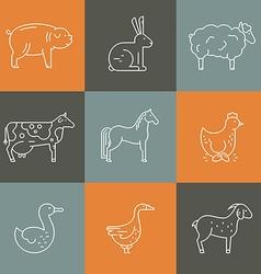 Farm animal icons vector