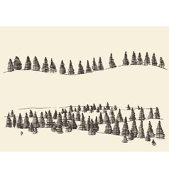 Fir forest contours engraving in mountains vector