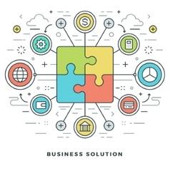 Flat line business solution concept vector