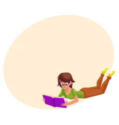 girl woman in glasses reading a book in lying vector image vector image