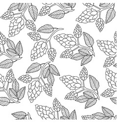 Hops seamless pattern hand drawing doodle style vector