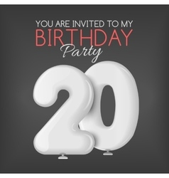 Invitation card for the celebration of 20 years vector image vector image