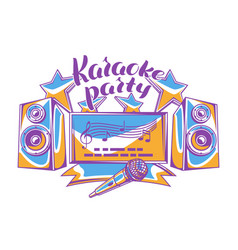 Karaoke party design music event background vector