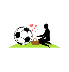 lover soccer guy and football ball on picnic meal vector image