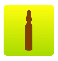 Medical ampoule sign brown icon at green vector