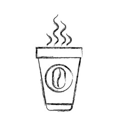 Monochrome blurred silhouette of disposable cup vector