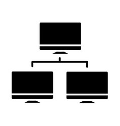 network monitor icon black vector image vector image