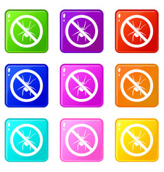 No spider sign icons 9 set vector