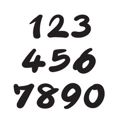 Numbers 0-9 written with a brush on a white vector