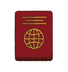 Passport identification tourist color sketch vector
