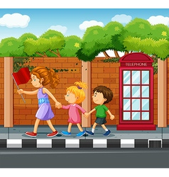 People walking on the pavement vector