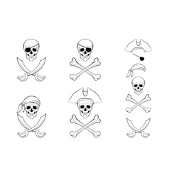 Pirate skull set design templates vector