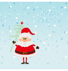 Santa claus with christmas tree and snow vector
