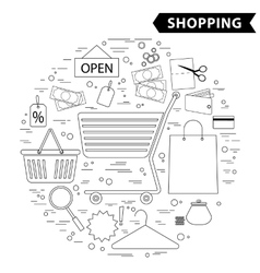 Shopping line icon set black white vector image