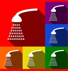 shower simple sign set of icons with flat vector image