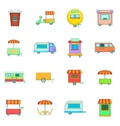 Street food kiosk vehicle icons set cartoon style vector