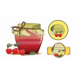 Sweet cherry jam vector image vector image
