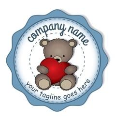 Teddy bear with the big heart -circular label vector