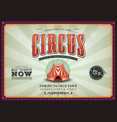 vintage horizontal circus poster with sunbeams vector image vector image