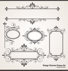Vintage victorian frame set vector