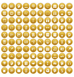 100 knowledge icons set gold vector