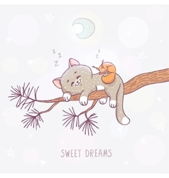 cat sleeps on a branch vector image