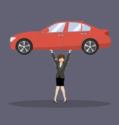 Business woman carry a heavy car vector