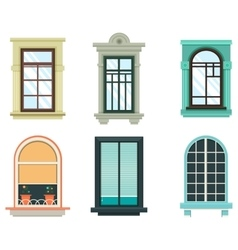 Wood windows frames isolated set exterior view vector