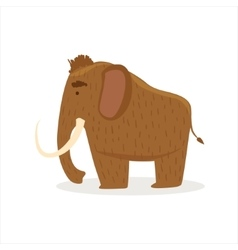 Hairy Brown Extinct Mammoth Cartoon Ice Age vector image