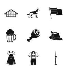 Republic of germany icons set simple style vector