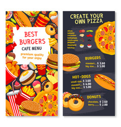 Menu card template for fast food meals vector