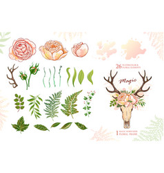 Magic wreath with deer horns and roses green vector
