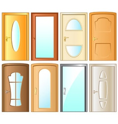 Set isolated modern door for home interior vector