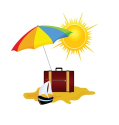 Umbrella and bag summer symbol vector