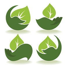 Leaves and hands vector