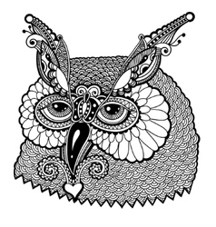 Black and white owl head vector