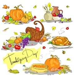 Thanksgiving day hand drawn collection vector