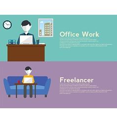 Freelance and office woek flat set with networking vector