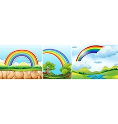 Nature scenes with rainbow vector