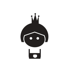 Flat icon in black and white princess vector image