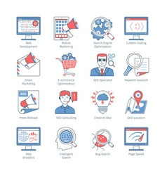 Modern seo thin line icons vector