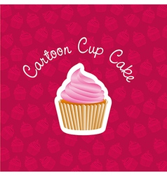 Basic cupcake sticker on back of pattern shapes of vector