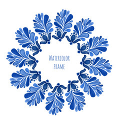 blue traditional floral round frame in russian vector image