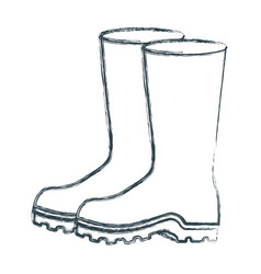 Blurred sketch silhouette of fishing plastic boots vector