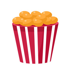 Crispy fried snack in stripy bucket cinema and vector