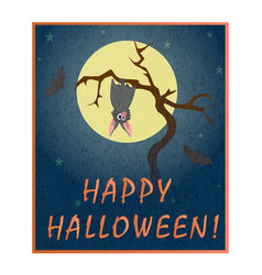 Cute grey bat hanging on a dry tree on background vector