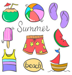 Doodle of object holiday summer vector