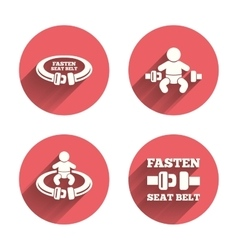 Fasten seat belt signs Child safety in accident vector image vector image